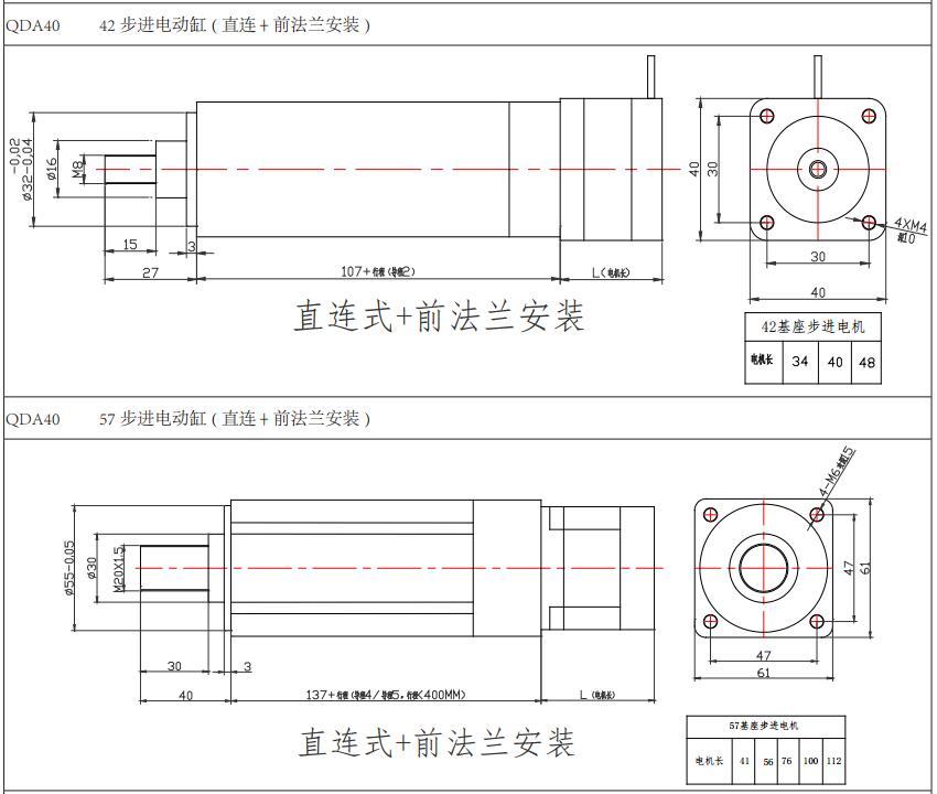 强得力QDA40系列伺服电动缸安装图纸