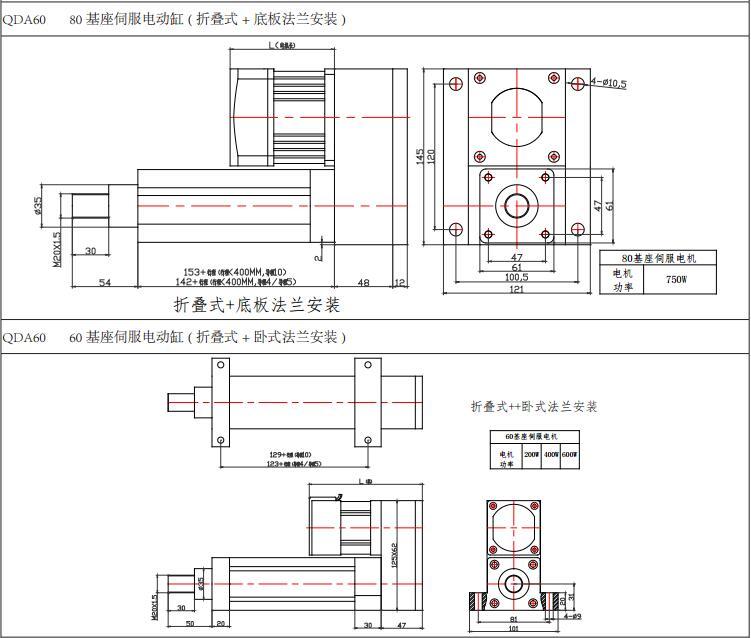 强得力QDA60伺服电动缸安装图纸