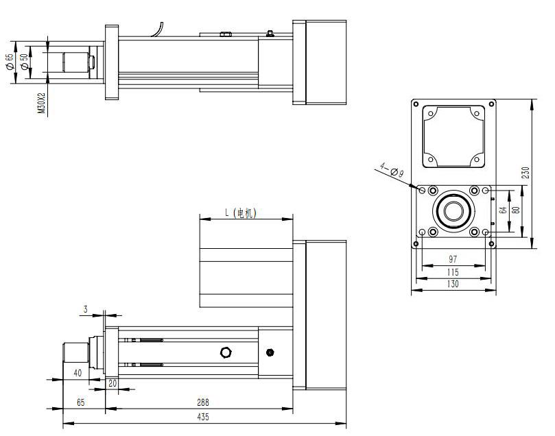 强得力QDA80系列折返伺服电动缸的安装方式